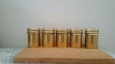 Lot of 5 Vintage Empty Aluminum 35mm Metal Film Canisters Cans Screw Cap Lids.