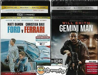 Ford V Ferrari + Gemini Man 4K Ultra Hd + Blu-Ray 2-Movie Set✔☆Mint☆✔ No Digital