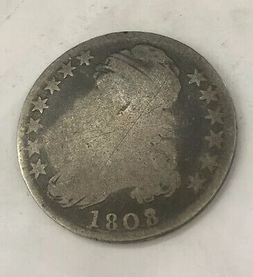 1808 Capped Bust 50c Silver VG detail scarce variety scratch O-108 r.3 #RB4-7044