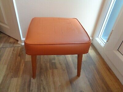 Vintage Retro Sherborne Orange Faux Leather Stool With Wooden Legs