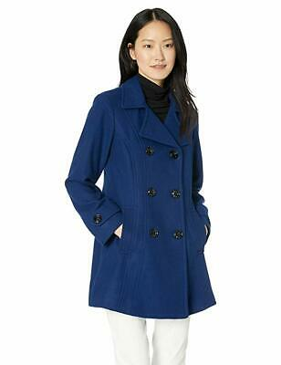 Anne Klein Women's Classic Double Breasted Coat, Blue Print, Small