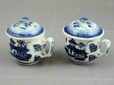 2 Early 19th Century Chinese Export Porcelain Blue & White Canton Syllabub Cups