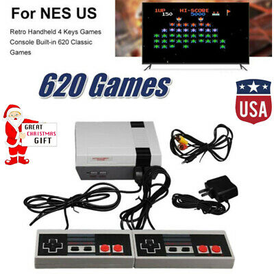 Retro Game Console 620 Built-in MINI Classic NES Games with 2 Controllers Gray