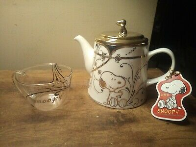 MIB Snoopy Porcelain/Glass Tea Set Embellished With Gold & Black EXTREMELY RARE!