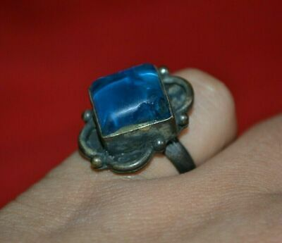 Amazing Ancient Bronze Roman Ring Vintage Artifact with With Nice Blue Stone