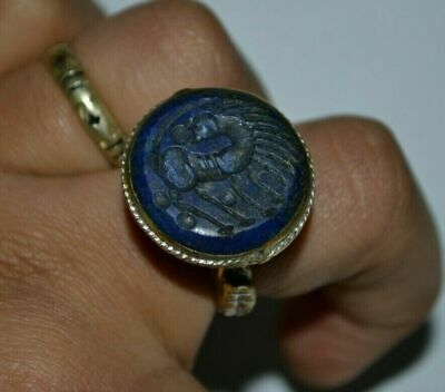Roman Legionary Silver Seal Ring With Mythic Beast - Great Save Gold Color