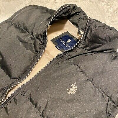 US Polo Assn Mens Puffer Vest Puffy Size Small Black/Tan