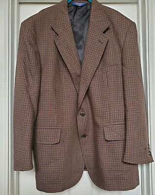 Pendleton Mens brown Houndstooth 100% Wool 2 Button Jacket Sport Coat Blazer 46