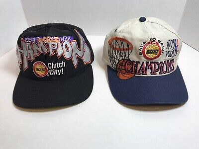 2x Vintage Houston Rockets 1994 1995 NBA Champions Cap Hat Back 2 Back logo 7