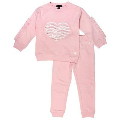 Limited Too Girls Pink 2 Piece Sequined Ruffled Pant Outfit L 6 BHFO 2973