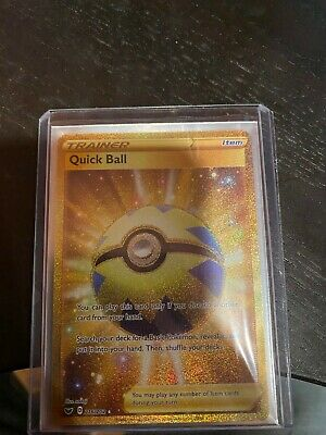 Pokemon TCG Sword & Shield Quick Ball Full Art Gold Secret Rare 216/202