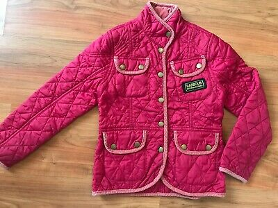 Girls Pink Red Quilted BARBOUR RIDING JACKET (age6-7) *NICE COND*