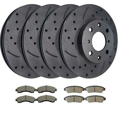 For 1998-2002 Mazda 626 Front Rear eLine Plain Brake Rotors Ceramic Brake Pads