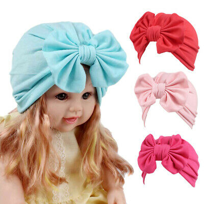 Children Baby Girls Bow Knot Boho Hat Beanie Scarf Turban Head Wrap Cap Solid