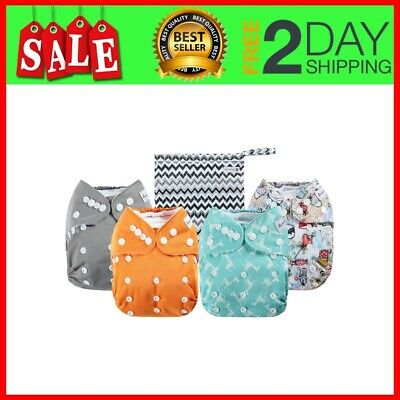 4 Pack Adjustable Size Waterproof Washable Pocket Cloth Diapers with 4 Inserts