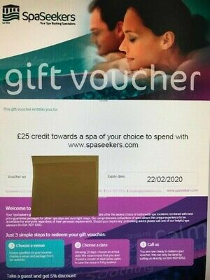 £25 SpaSeekers Gift Voucher Expires 22/02/2020 can be used for Spa Day Package