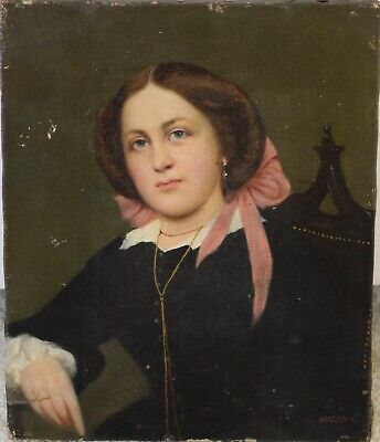 Fine Antique 19th Century Portrait Oil On Canvas Painting