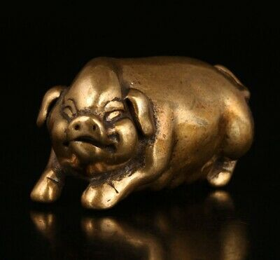 Retro Chinese Bronze Statue Pendant Animal Pig Mascot Decorative Old Gift