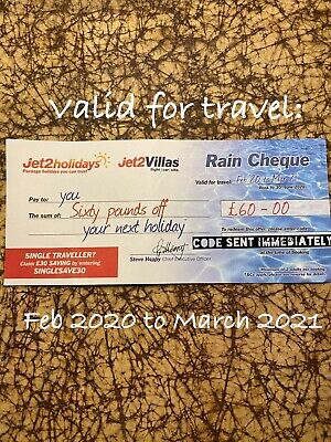 New Official Jet2 Holidays £60 Rain Cheque Jet2 Voucher Rain Promo Code