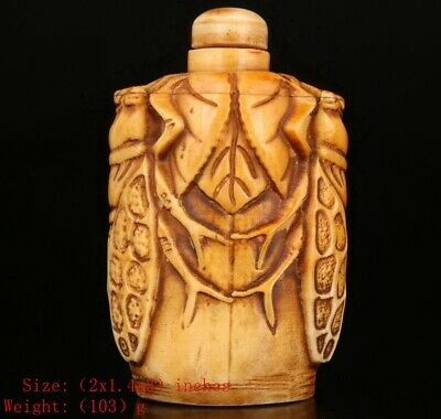 Chinese Cattle B0Ne Snuff Bottle Statue Hand-Carved Cicada Crafts Mascot