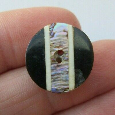 Wonderful Antique~ Vtg Carved HORN Inlay Whistle BUTTON Inlaid Abalone Shell (U)