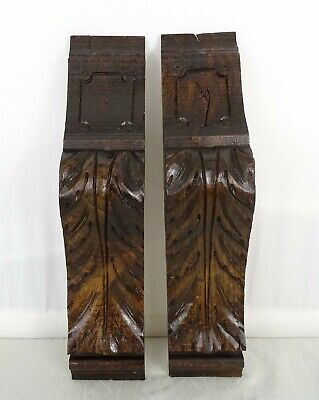 "11.5"" Pair of French Antique Carved Wood Corbel - Wall Shelf Decor - Oak Wood"