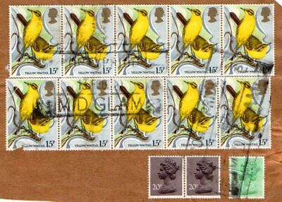 Gb. The 15 Pence From The 1980 Wild Birds Set In A Block Of 10 Used