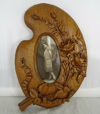 "10.5""  Antique French Large Fine Hand Carved Picutre Frame Oak Wood -  Roses"
