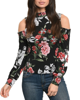 Ladies Girl's black Cold Shoulder Floral Print Full Sleeve Sexy Tops t-shirts