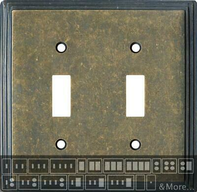 Art Deco Step Mottled Antique Brass  Switch Plates, Wall Plates & Outlet Covers