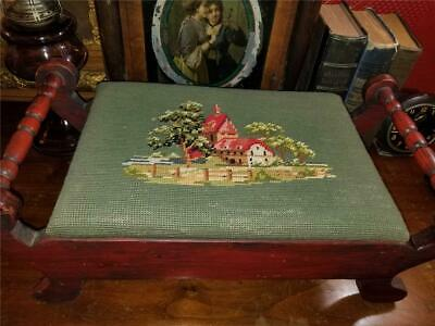 Vtg Wood Footstool 2 Side Handles Needlepoint Top Country House & Barn or Church