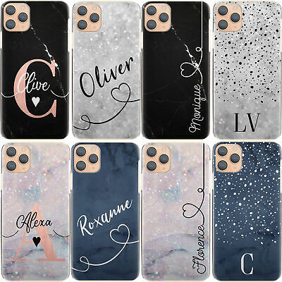 Initial Phone Case, Personalised Name Blue Marble Hard Cover For Samsung A