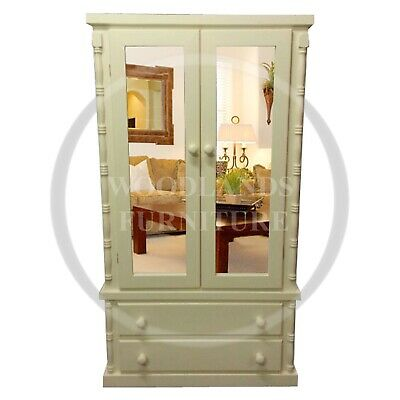 Handmade Solid Pine Diana Double Mirrored 2 Drawer Wardrobe In Ivory (Assembled)