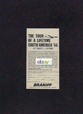 Braniff International Boeing 707 Jet To South America Tour Of Lifetime 1966 Ad