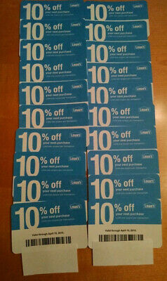 20x Lowes 10% Off physical COMPETITOR Coupon NOVEMBER 11/15/2020 Home Depot Only