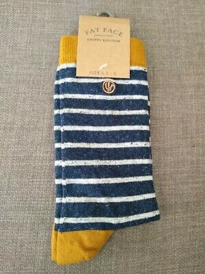BNWT  FAT FACE Mens Layth Striped Socks  Navy Blue Red    Size 9.5-11