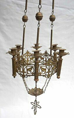 "Revival Gothic Large 41"" Altar Church Chandelier 6 Candles Brass 1870"