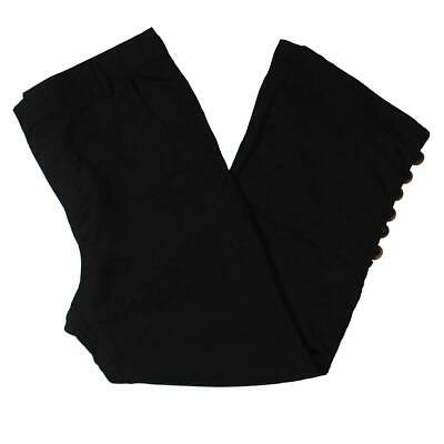 Lucca Womens Black Wide Leg Cropped Everyday Casual Pants L BHFO 8924