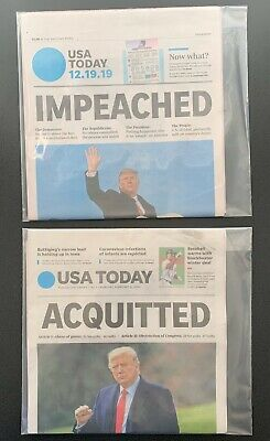 Donald Trump USA Today IMPEACHED & ACQUITTED Newspapers 12/19/19 - 2/5/20 MAGA