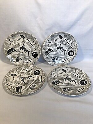 4 xPlates 23cm Ridgway Potteries Ltd Homemaker 1960s Staffordshire England VGC