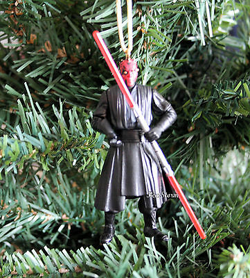 Custom Star Wars Darth Maul W/ Double Bladed Lightsaber Christmas Ornament PVC
