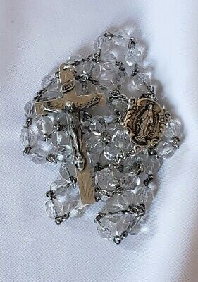 VTG WW2 HMH Sterling Silver Rock Crystal Rosary W/1830 Mary Miraculous Medal