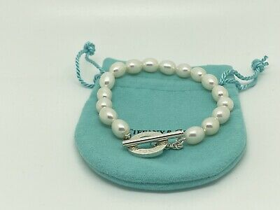 Tiffany & Co. 925 Sterling Silver Pearl Beaded Toggle Clasp Bracelet 7.5 Inches