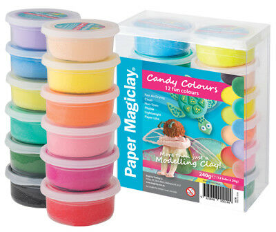 Paper MagiClay 12 x 20g Tubs (Candy Colours) Air Drying Paper Clay