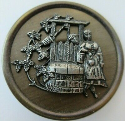 Wonderful XL Antique~ Vtg Victorian Metal Picture BUTTON Girl at the Well (U)