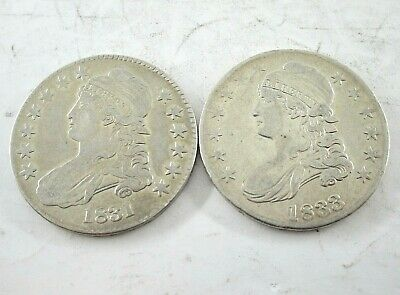 1831 & 1833 United States Liberty Capped Bust Silver Coins 50¢ Extra Fine-AU