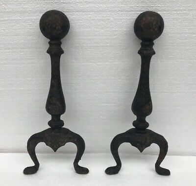 Vintage Hand-Hammered Cast Iron Andiron Fire Dogs Set W Cannonball Top Fireplace