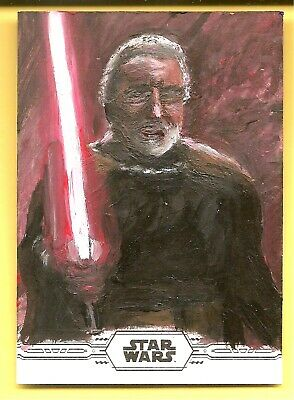 2019 Topps Chrome Star Wars Ward Silverman Hand Painted Obi Wan Artist Sketch
