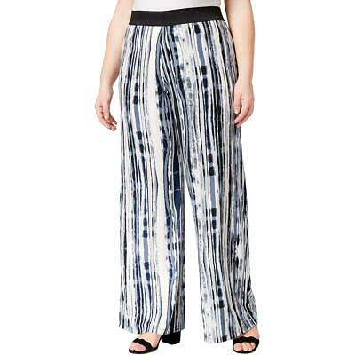 Alfani Womens Blue Printed Pull On Dressy Wide Leg Pants 1X BHFO 8009