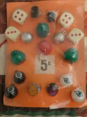 Vintage Gumball/Vending Scary/Green Monsters/8 Ball/Dice 5 Cent Display Card